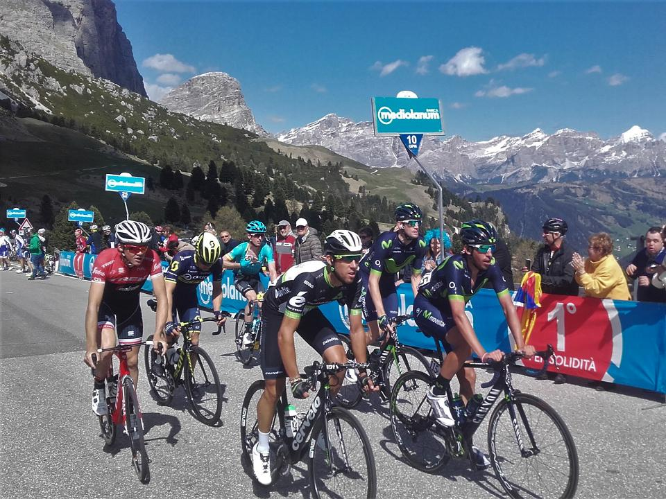 The pro riders in action at the Dolomites