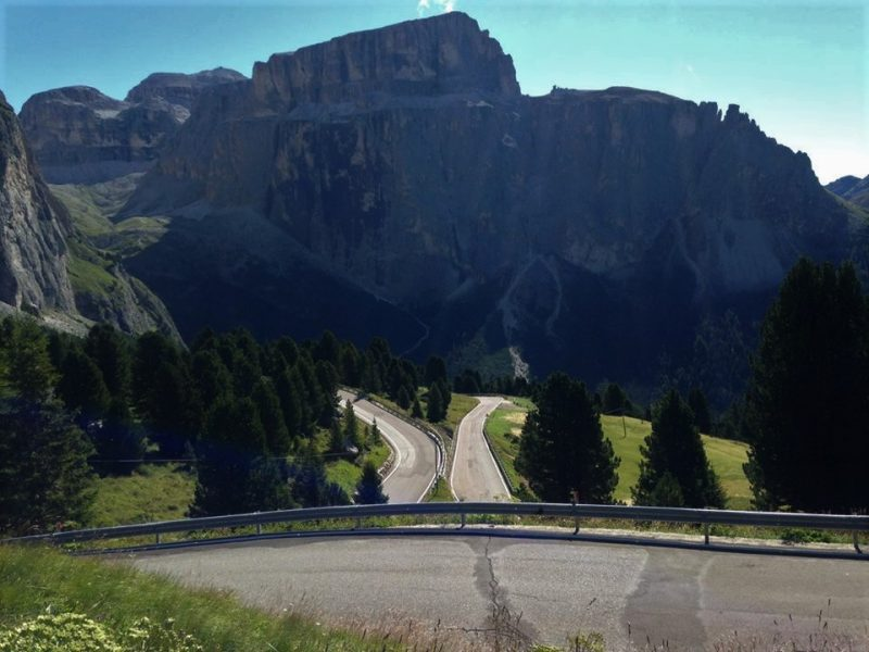 The splendid switchbacks of Passo Sella in the Dolomites