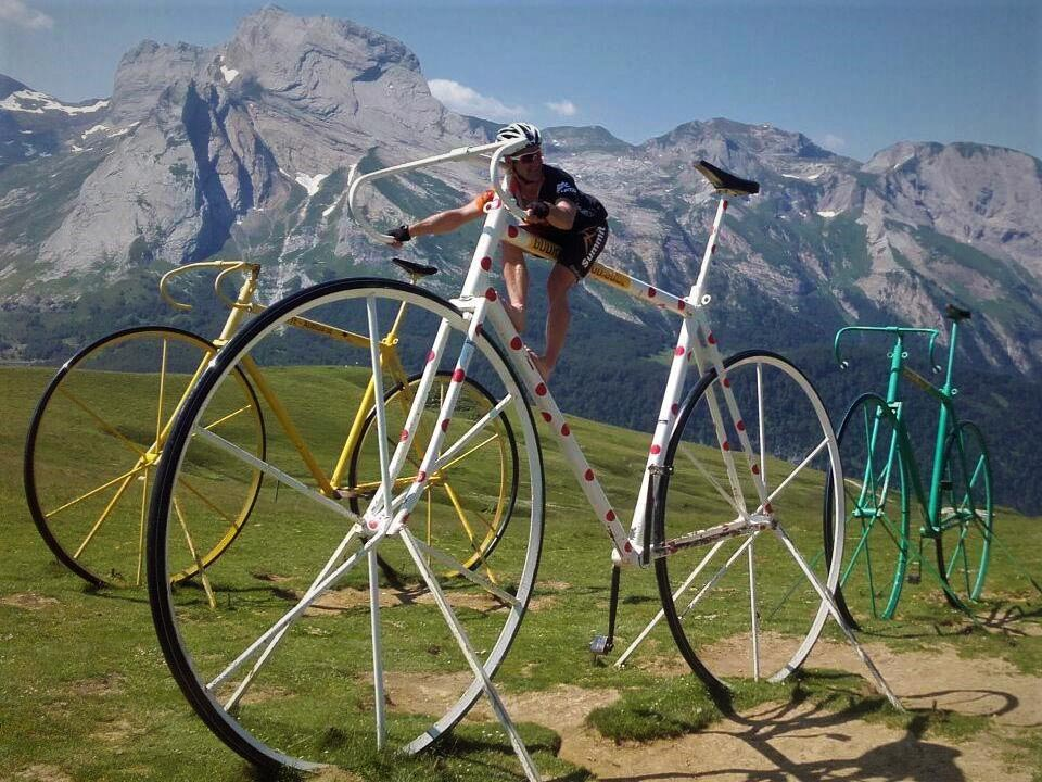 Fun times on the oversize TDF bikes on the Aubisque