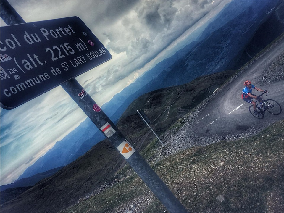Col du Portet in the French Pyrenees. Pyrenees Coast 2 Coast Cycling Tour