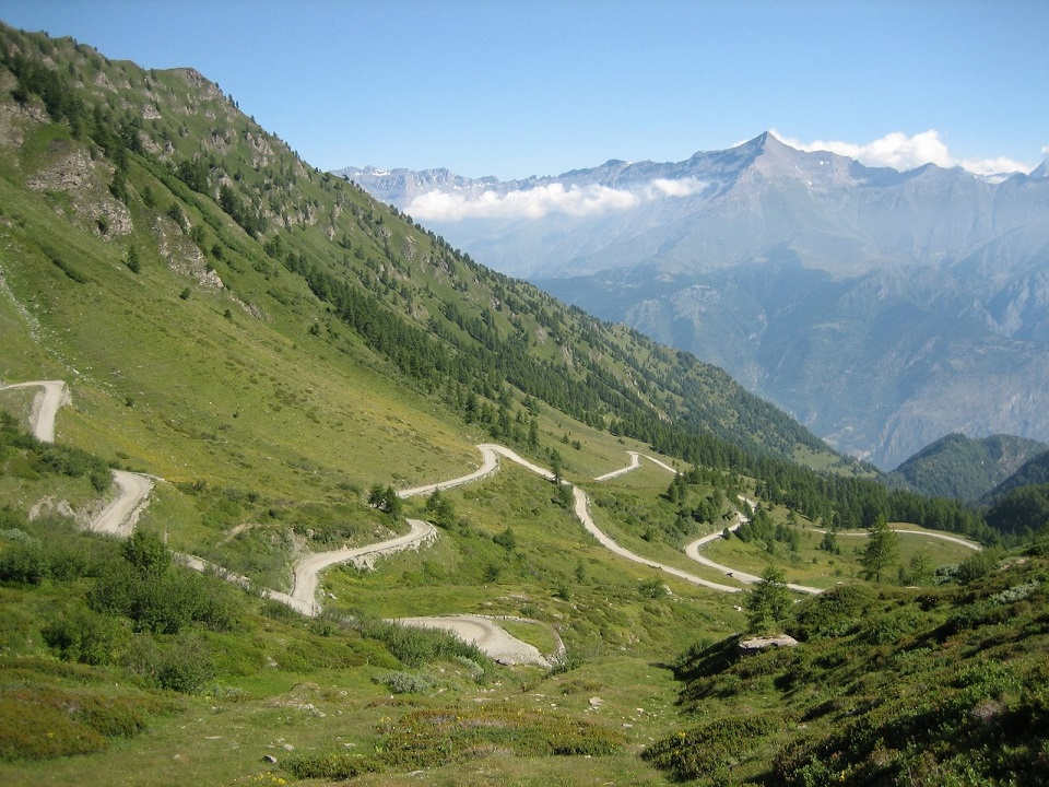 Switchback cycling in the Swiss Alps
