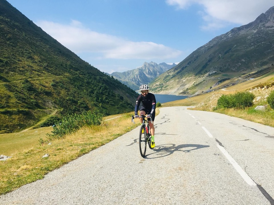 Road bike cycling on Col du Glandon in the French Alps