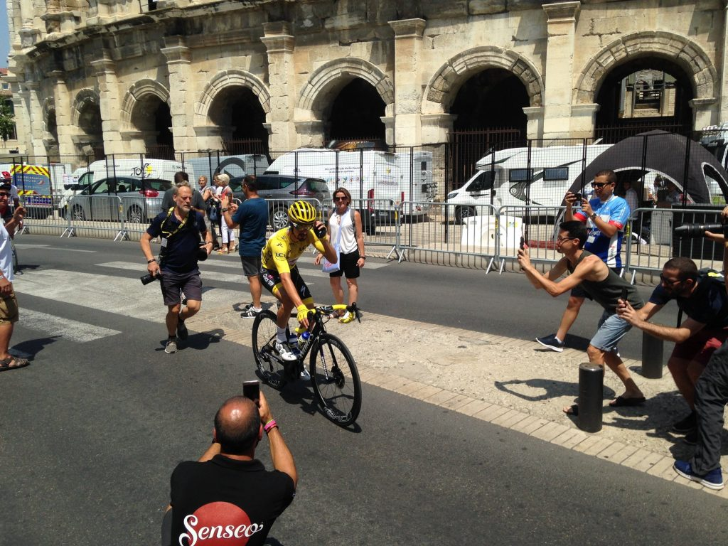 Julian Alaphilippe dressed in yellow at the Tour de France in Nimes