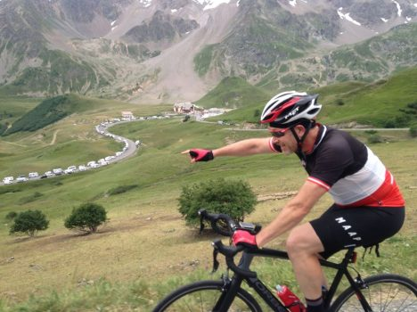 Col du Galibier and cycling with the Tour de France caravans