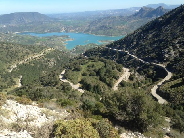 Puerto de las Palomas and its final switchbacks looking back to Zahara de la Sierra in Cadiz