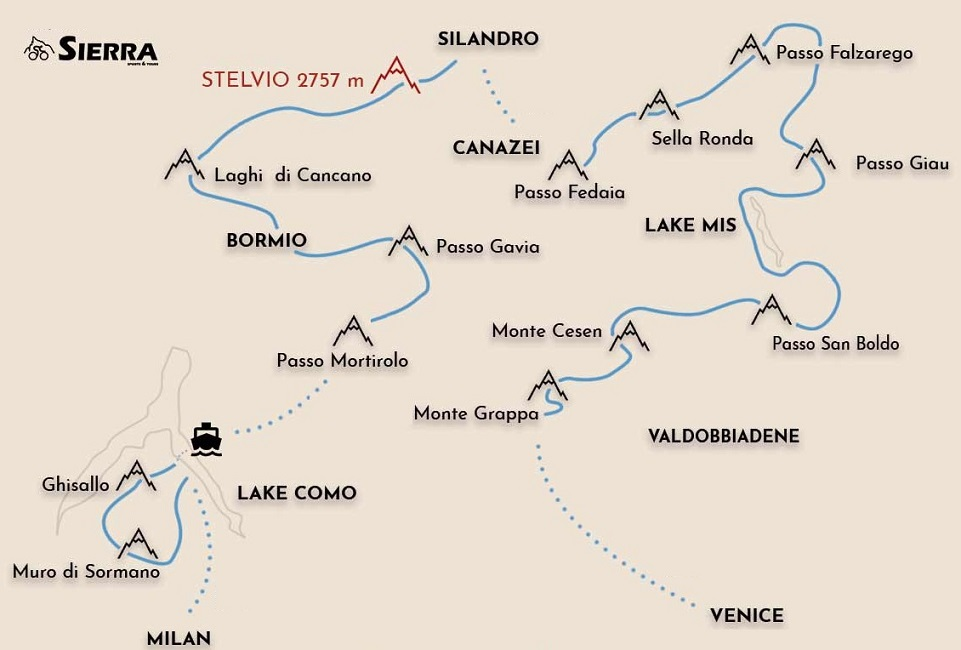 Italian Alps road cycling map from Venice to Milan via Lake Como