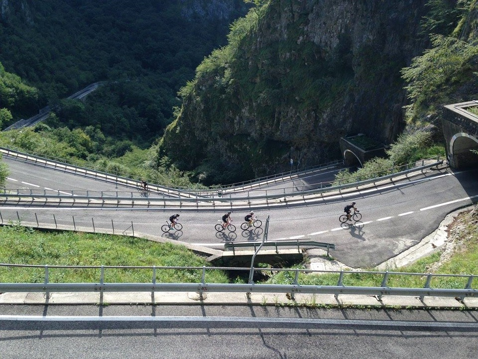San Boldo Pass and its tunnel switchbacks on the ride to the Dolomites