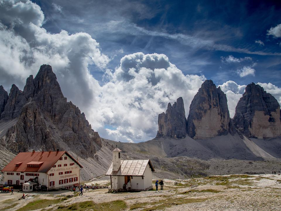 The majestical Tre Cime Lavaredo peaks in the Dolomites