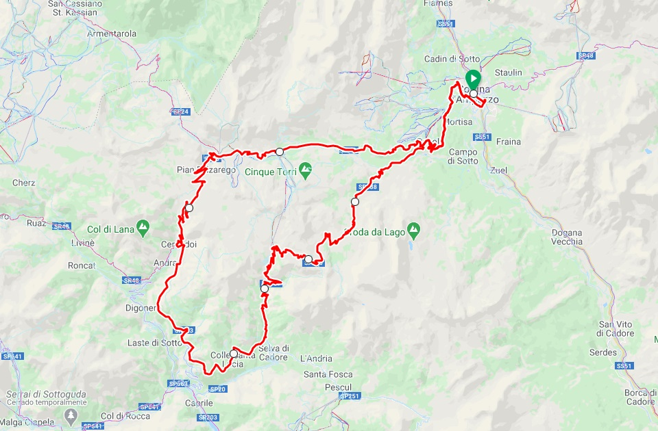 Passo Giau road cycling map in the Dolomites