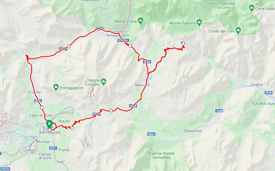 A road cycling loop ride around Cortina d'Ampezzo in the Dolomites