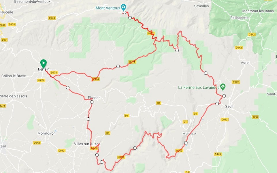 Mont Ventoux road cycling maps