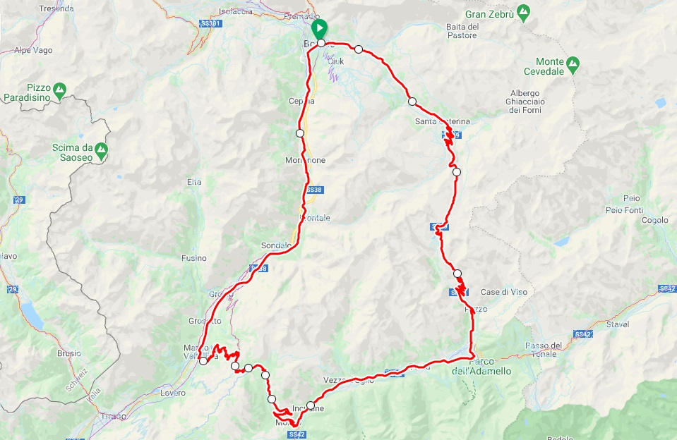 Mortirolo & Gavia Pass road cycling map
