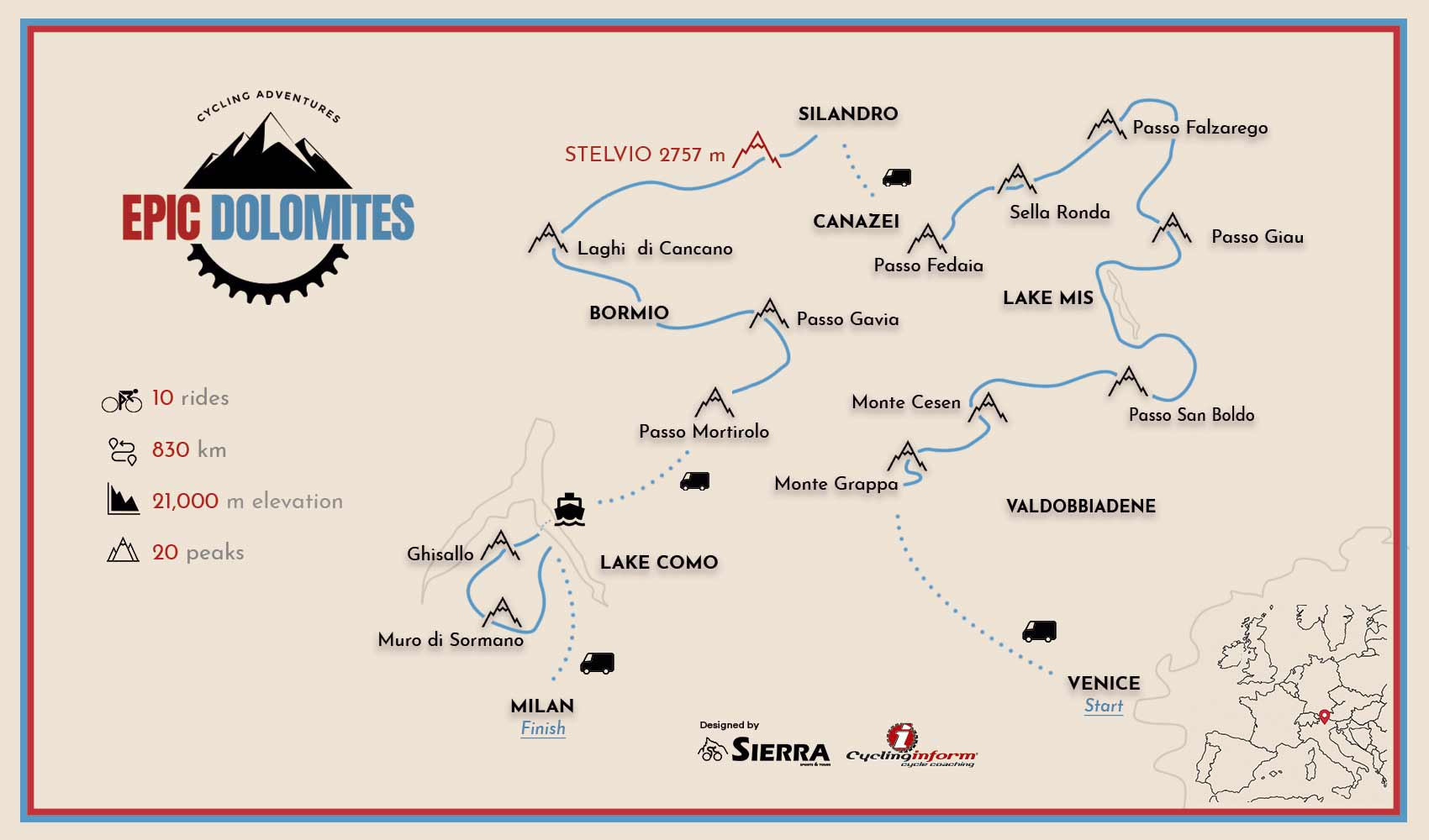 Italian Alps cycling map including the Dolomites, Stelvio and Lake Como