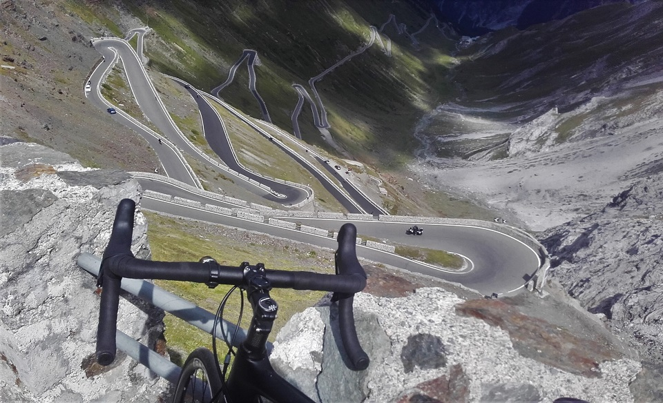 Passo Stelvio from the upper switchbacks looking back towards Prato allo Stelvio