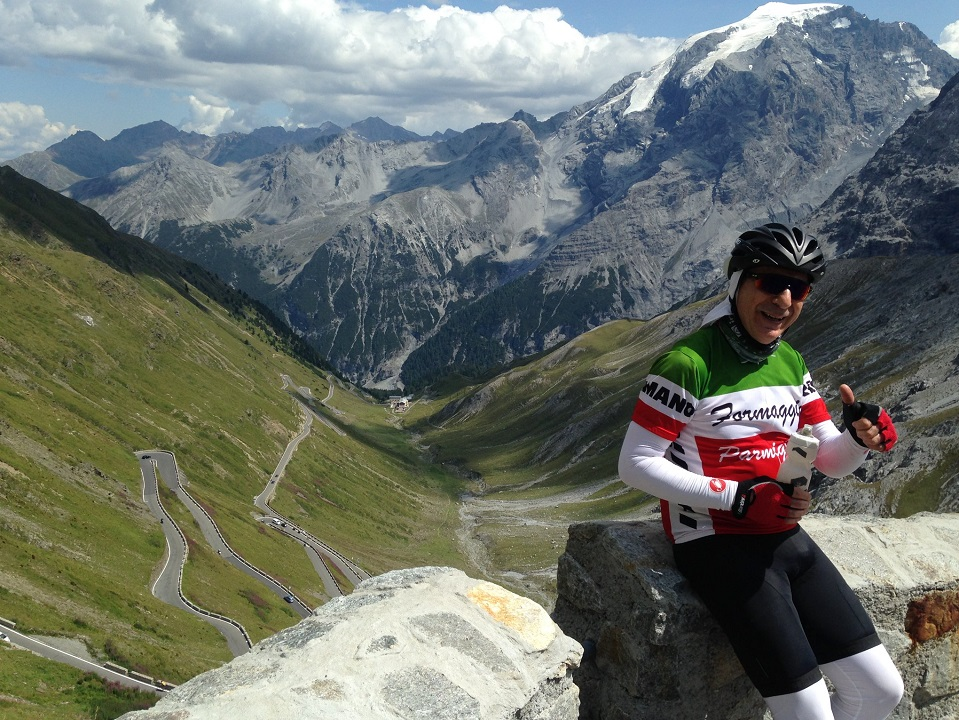 Taking time out on the Stelvio Pass to enjoy the switchback views