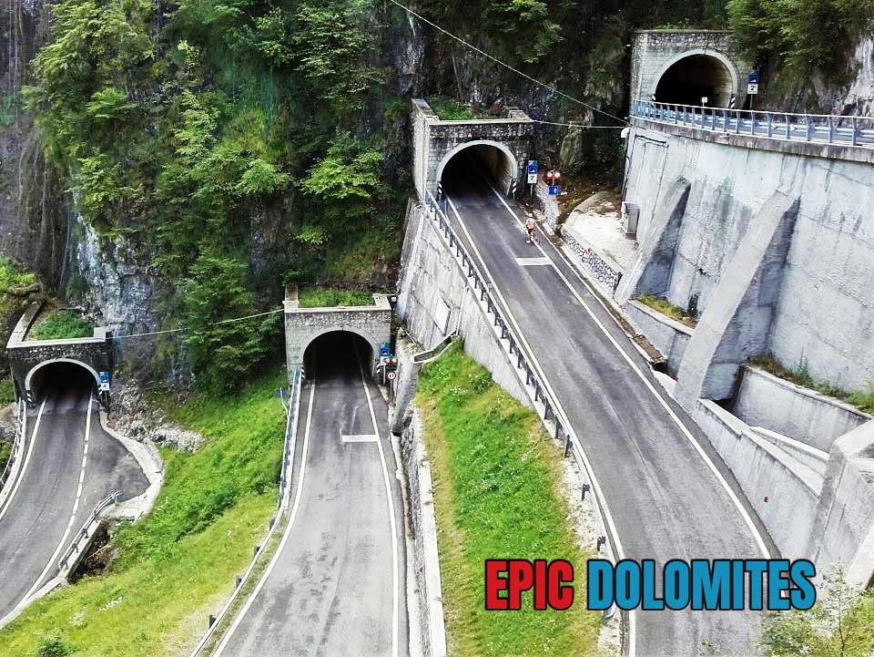 The tunnel switchbacks on San Boldo in Prosecco Wine Country