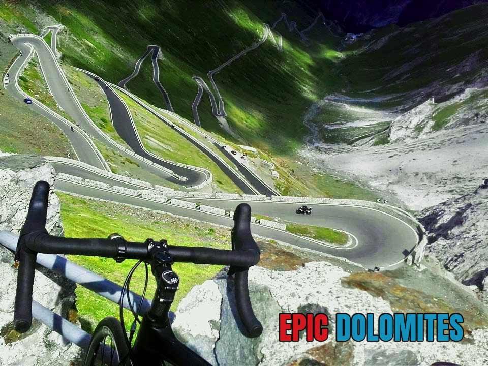 The cycling switchbacks on Stelvio Pass