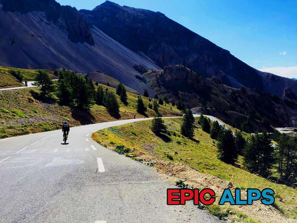 Cycling and switchbacks on Col d'Izoard in the Alps