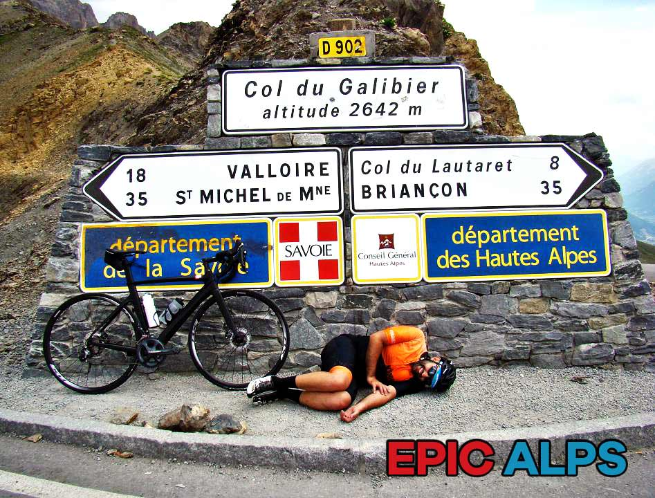 Time for a rest on Col du Galibier after cycling in the French Alps