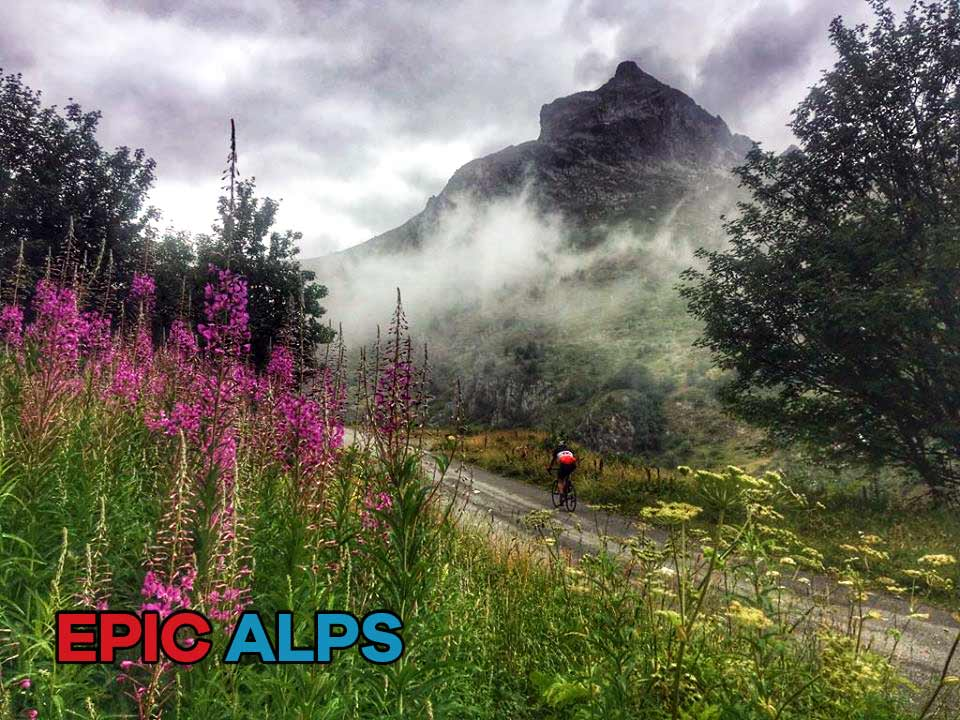 Cycling through the mist on Col du Glandon in the French Alps
