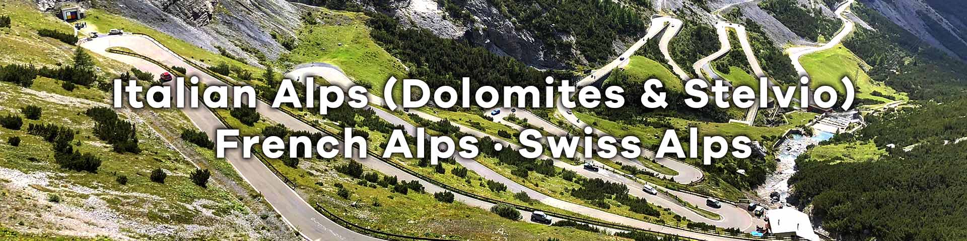 The switchbacks of Passo Fedaia in the Dolomites