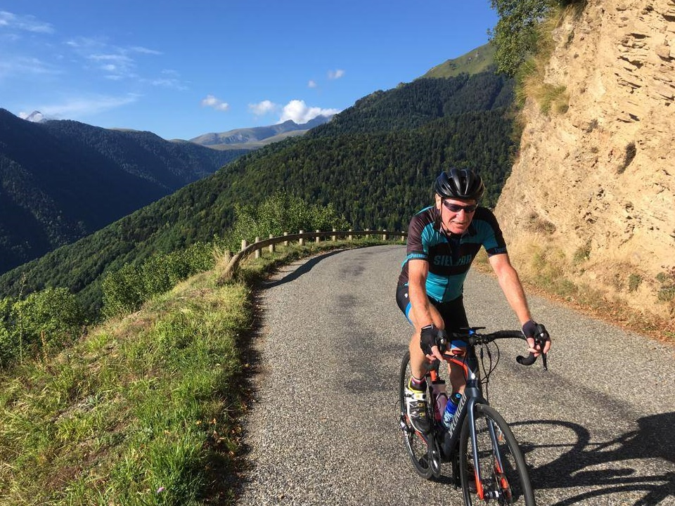 Cycling the back road Horquette d'Ancizan away from Col d'Aspin
