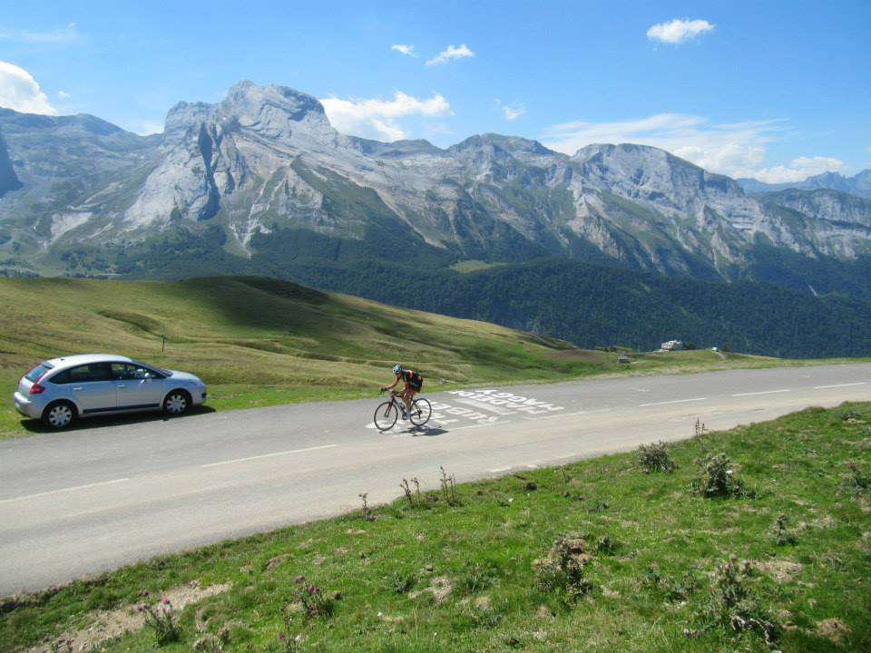 Road cycling all the way to the top of Col d'Aubisque in the French Pyrenees