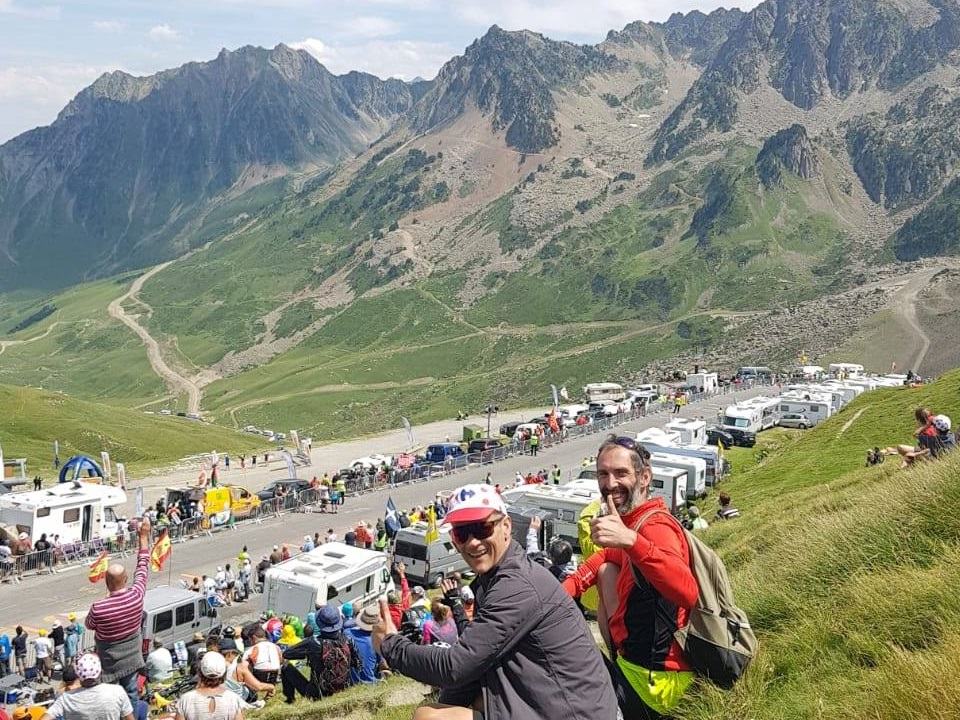 Watching the Tour de France from Col du Tourmalet